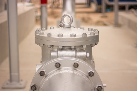 presser: Water valve  distribution in an industry. Stock Photo