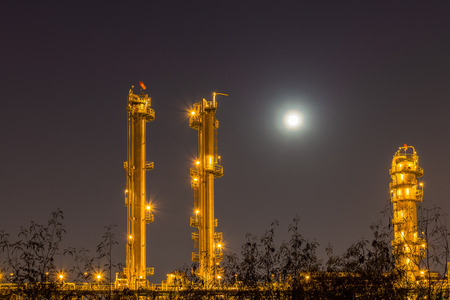 petrochemical plant: Night light of petrochemical plant. Stock Photo