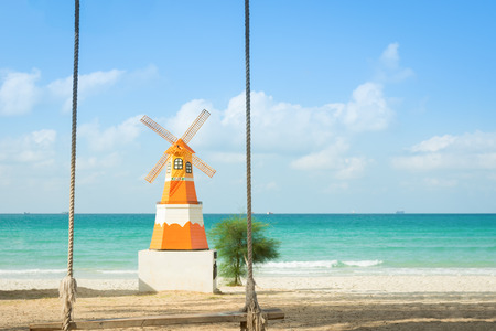 end of a long day: Wind and sunlight with beautiful beach. Stock Photo