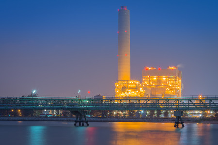 After sunset and duration twilight of the power plant. photo