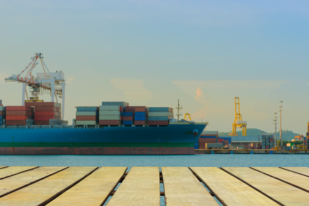 unloading: Unloading container of cargo ship port.