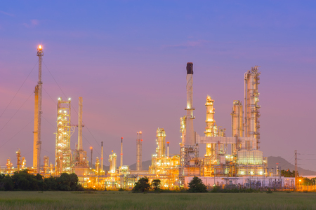 chemical plant: Twilight of refinery plant. Stock Photo