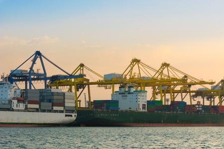ship bow: Beside of the cargo ship terminal.