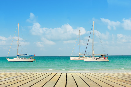 long weekend: Relaxing on the white yacht in long weekend. Stock Photo