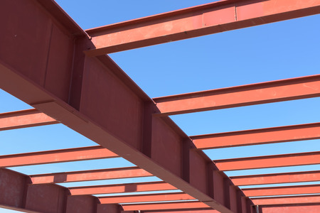 steelwork: Red of steel girder. Stock Photo