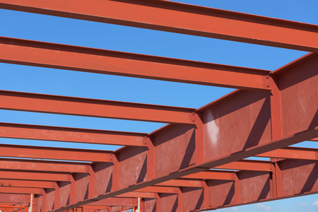 metal structure: Red of steel girder. Stock Photo