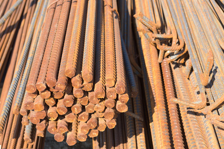 reinforcement: Steel bar for reinforcement of building. Stock Photo