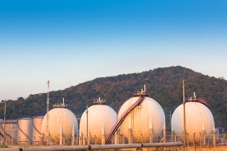 globalwarming: Petrochemical spherical tank on twilight.