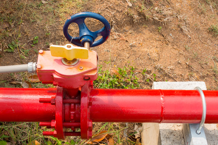 junction pipe: Supervisory valve for fire protection system. Stock Photo
