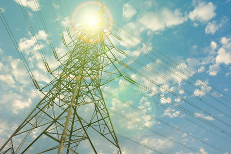 transmission line: Tower of electricity transmission line. Stock Photo
