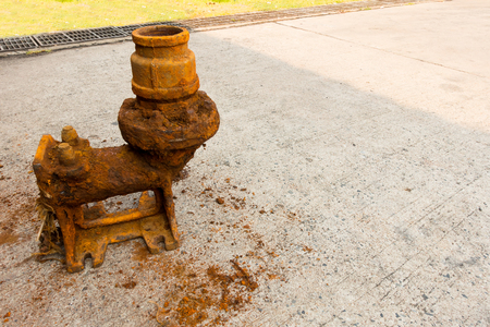sump: Old sewage pump and rust corrosion.
