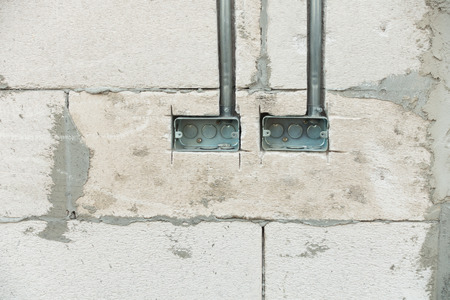 junction pipe: Electrical junction boxes with conduit pipe connection embedded in the wall. Junction boxes for switch.