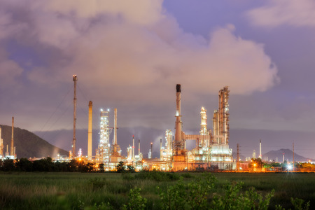 luminosity: Luminosity of oil refinery plant, Twilight scene.