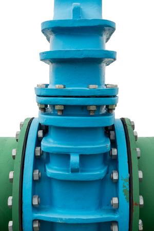Control main valve on isolation white background, Water control main valve, Pipeline distribution, Water pipeline. Stock Photo