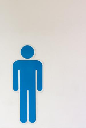 a public notice: Men sign access for toilet, Toilet symbol.