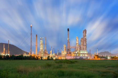Twilight scene of oil refinery plant. Stock Photo