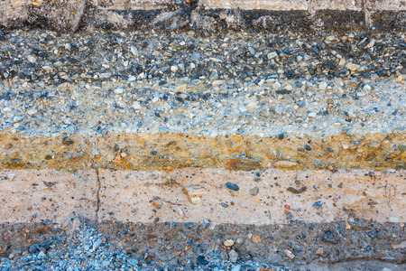 crush on: Layers soil and rock of traffic road, Layer soil paving, Layer of crush rock. Stock Photo