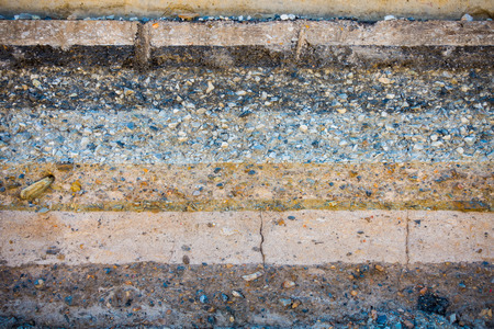 compaction: Layers soil and rock of traffic road, Layer soil paving, Layer of crush rock. Stock Photo