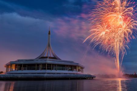 queen's birthday: Firework celebration for H.M. The Queens Birthday, Bangkok,Thailand Stock Photo