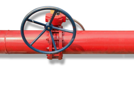 Supervisory valve for fire protection system on isolated white background. Stock Photo