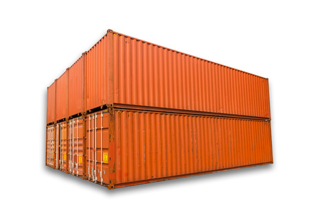 Container Storage On Isolation White Background, Contianer Shipping Yard.  Stock Photo   64438629