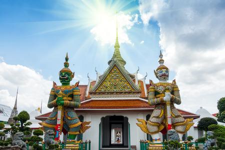 Couple giant of Arun temple of Bangkok Thailand.