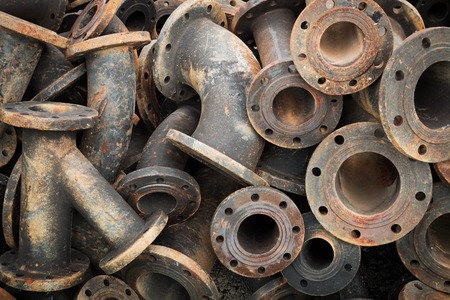 Storage of sewage pipe fittings, Cast iron pipe fittings.