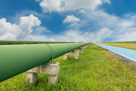 Straight line of potable water pipe on daylight. Stock Photo