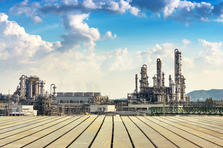 Landscape of petrochemical plant on daylight., Refinery plant.