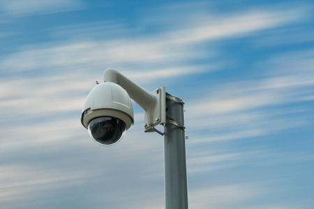CCTV security camera on street road.