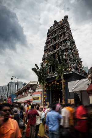 crowded street: SINGAPORE - OCTOBER 23, 2016: Chinatown and Sri Mariamman Temple October 23, 2016 in Singapore. Singapore Chinatown crowded street place.