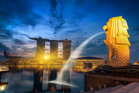SINGAPORE - October 24, 2016 : Singapore cityscape on sunrise scene., Singapore Marina Bay cityscape.