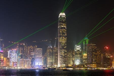 Hong Kong light show at Victoria harbor.