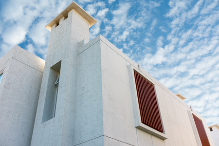 Modern house on blue skies background.
