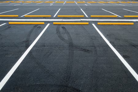 Empty car parking lots, Outdoor public parking. Reklamní fotografie - 76352082