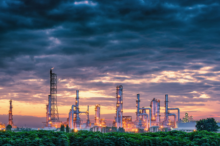 Petrochemical plant on twilight scene., Oil refinery plant.