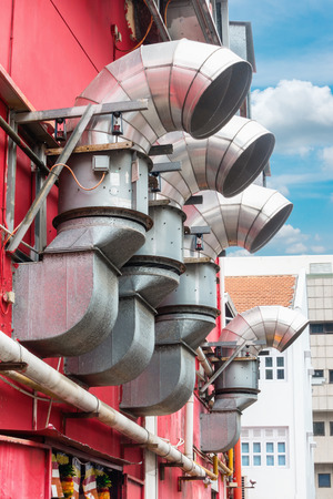 exhaust system: HVAC equipment control outside building, HAVC system. Stock Photo