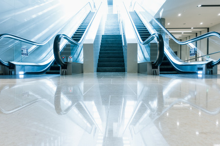 Modern escalator and architecture interior design.