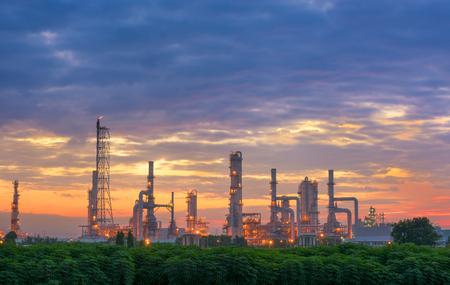 Morning scene at oil refinery plant.