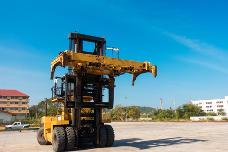 Forklift truck in shipping yard., Business transportation.