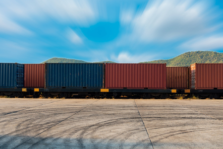 delivery truck: Container shipping yard and transport tain.