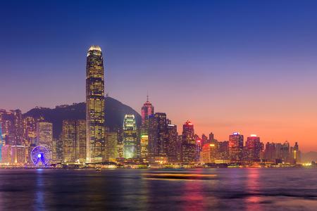 Hong Kong island at twilight scene. Stock Photo