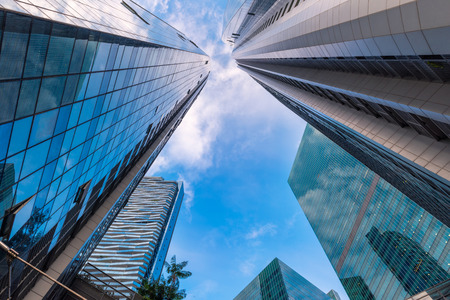 Perspective of skyscrpers tower and business building at low angle view., Business downtown and financial certer Stock Photo