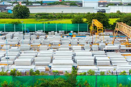 precast: Storage and handling materials of precast concrete in yard. Stock Photo