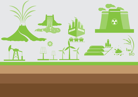 Power energy source and industry flat icons., Energy concept, Vector, Illustration.