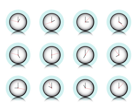 Clock wall collection, timer icon set, Vector, Illustration