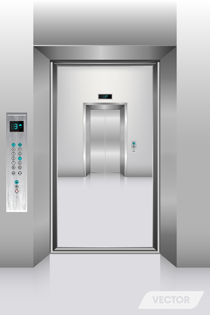 Realistic elevator in office building., Interior concept, Vector, Illustration.