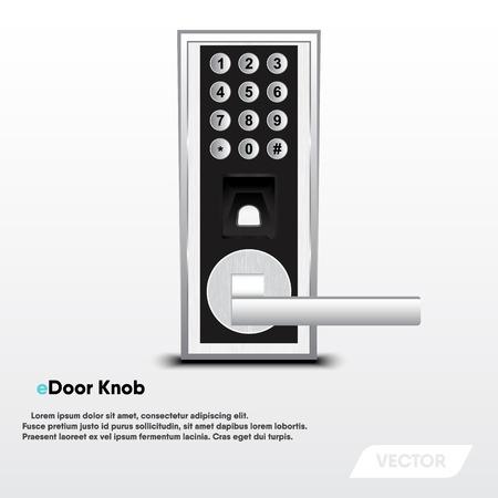 Electronic security door knob, Modern design, Vector, Illustration Çizim