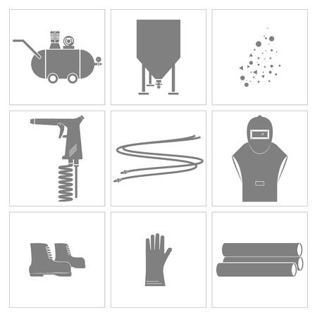 Icône d'outils de sablage et d'équipement., Vecteur, Illustration
