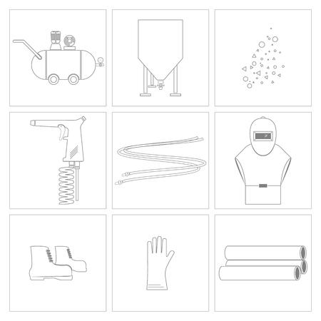 Sandblasting and equipment tools icon., Vector, Illustration.